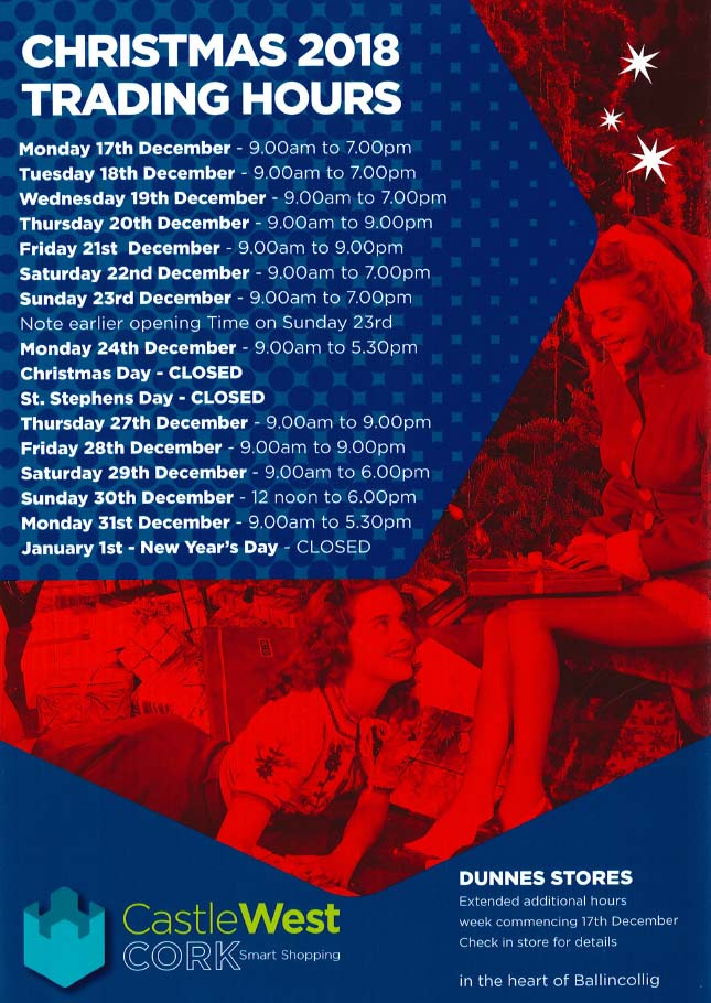 Christmas Trading Hours at Castle West Cork
